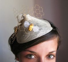 A bee themed fascinator! Bee Hat, Funky Hats, Buzzy Bee, Bee Skep, I Love Bees, Offbeat Bride, Wedding Headband, Save The Bees, Bees Knees