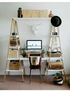 Great desk idea with a lot of space