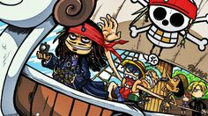 cartoons One Piece funny Nami Luffy Zoro Sanji Pirates of the Caribbean Jack Sparrow artwork - Wallpaper (#397204) / Wallbase.cc