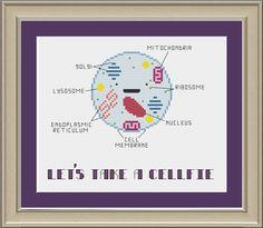 Let's take a cellfie: funny cell biology cross-stitch pattern by nerdylittlestitcher on Etsy https://www.etsy.com/listing/197824048/lets-take-a-cellfie-funny-cell-biology