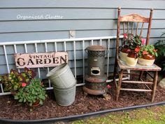 Adding rustic vintage decor to the garden.  The flamingoes better play nice.