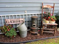 Adding rustic vintage decor to the garden.
