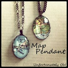 #DIY Map Pendants necklaces