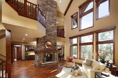 The fireplace is the element that connects the two levels of this home
