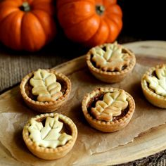 These adorable mini pumpkin pies are a great way to take advantage of the delicious seasonal fruits Mini Pumpkin Pies, No Bake Pumpkin Pie, Pumpkin Pie Recipes, Mini Pumpkins, Fall Recipes, Mini Pies, Pumpkin Tea, Fall Dessert Recipes, Fall Desserts