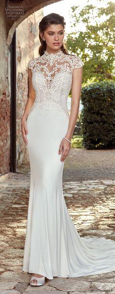 eddy k 2019 ek cap sleeves illusion high neck sweetheart neckline heavily embellished bodice elegant sheath wedding dress medium train (3) mv -- Eddy K. 2019 Wedding Dresses