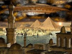 Atlantis concept using UFO as the lost city of Atlantis