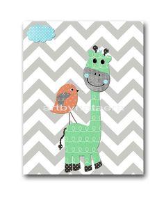Digital Print Printable Art Baby Boy Nursery Giraffe Wall Decor Children Art Kids Wall Art Baby Boy Room Decor 8x10 11X14 INSTANT DOWNLOAD by nataeradownload on Etsy