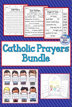 It's a great time to start the new year with this printable resource on four different Catholic prayers. The Hail Mary, Glory Be, Our Father and the Guardian Angel Prayer also known as the Angel of God are all included. Fun activities to help Catholic children learn the words to these common prayers. Great for religious education in the classroom, homeschool or Sunday School. #Catholic #CatholicPrayers #CatholicKids #PSR #HeavensLittleHelper #TeachersPayTeachers #OurFather #HailMary Catholic Children, Catholic Religious Education, Prayers For Children, Catholic Crafts, Catholic Religion, Catholic Prayers, Common Prayer, Angel Prayers, Hail Mary
