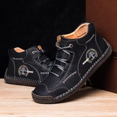 Men Vintage Hand Stitching Soft Business Casual Ankle BootsMen's ShoesfromBags & Shoeson banggood.com Stylish Shoes For Men, Best Shoes For Men, Shoes Men, Men's Shoes, Ankle Boots Men, Driving Shoes, Comfy Shoes, Boots Online, Fashion Boots