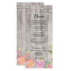 #Watercolor Flowers Menu Wedding Reception Card - #flower #invitation #floral #invitations