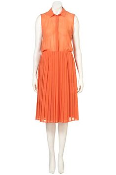 PERFECT! Three spring trends in one dress: tangerine, pleats, sheer