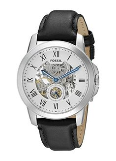 Men's Wrist Watches - Fossil Mens ME3053 Grant Stainless Steel Automatic Watch with Black Leather Band -- Find out more about the great product at the image link.