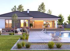 Nela V - zdjęcie 3 Modern Brick House, Modern Pool House, Modern Small House Design, Modern Bungalow House, Bungalow House Plans, House Plans Mansion, House Roof, Facade House, House Floor Design
