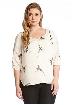 Karen Kane Plus Size Fall Pheasant Bird Blouse #Karen_Kane #Plus #Size #Cream #Pheasant #Bird #Print #Blouse #Plus_Size #Fall #Fashion #Belk