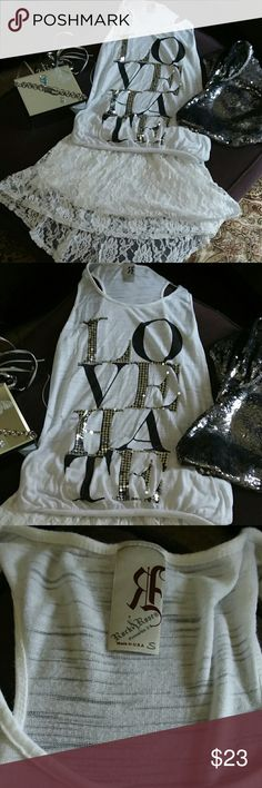 """🌹Rock & Rose🌹LOVEHATE top &skirt Prov. 3:5  SZ S """"Rock & Rose"""" White tank top w/ the words  from Prov. 3:5 LOVE HATE in unique sparkle & BLING!! .....  IT'S BRAND NEW!!  NEVER WORN !!!  🍓🍓🍓WITH FREE GIFT OF SZ S HOLLISTER LACE SKIRT 🍓🍓🍓 Rock & Rose Tops Tank Tops"""