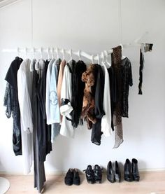 using a smaller branch as a hangers rack.. cute and decorative. Probably an easy DIY, too