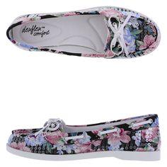 "NIB Dex Flex ""Buoy"" cushioned insole floral sequin boat shoes - retail $34.99 #DexFlex #BoatShoes"