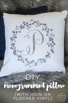 DIY Monogram Pillow Tutorial |Create diy decor using your Cricut Explore and heat transfer Iron On Flocked Vinyl. Easy to follow DIY.