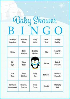 Digital Printable cards 5x7 DIY card Winter Baby Shower Games Girl Yellow Penguin Baby Shower