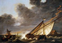 Ships Tossed in a Gale, Aelbert Cuyp, 1640s
