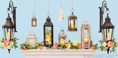 Elegance is easily achieved with beautifully filled lanterns—just add some faux floral blooms for a pop of perfection!