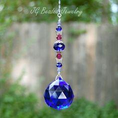 Cobalt Blue Butterfly Prism Crystal Suncatcher
