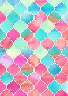 Watercolor Moroccan Patchwork in Magenta, Peach & Aqua by Micklyn | Colorful pattern art. watercolor, Moroccan, pattern, patchwork. Click through for prints of this artwork (cards, phone cases etc.)!