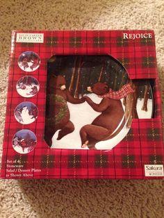 David Carter Brown Rejoice Oneida 2001 Christmas Bear Plates Set Of 4 #Oneida