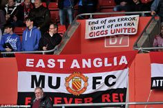 End of an error: Manchester United fans present a banner in the stands in Southampton, as their team finish 7th., their lowest ever finish in the Premier league.