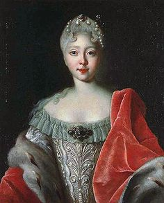 Portrait by Louis Caravaque abt 1720 of future Empress Elizabeth Petrovna Romanova (29 Dec 1709-5 Jan 1762 age 52) Russia in embroidered silver dress & a red mantle. 5th child of Tsar Peter I The Great Alekseyevich Romanov (9 Jun 1672-8 Feb 1725 age 52) Russia & 2nd wife Empress Catherine I Alexeyevna Romanova (Marta Elena Skavronska) (15 Apr 1684-17 May 1727 age 43) Poland. Located in 2015 in The State Hermitage Museum, St. Petersburg, Russia-bought 1994 from private German Collector.