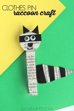 Raccoon craft with a clothes pin for use in second grade math: this Regrouping Raccoon will help with regrouping double digit addition math problems! Animal Crafts For Kids, Crafts For Kids To Make, Kids Crafts, Craft Activities, Preschool Crafts, Preschool Letters, Preschool Themes, Camping Activities, Thanksgiving Crafts For Kids