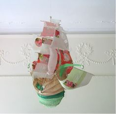ghost ship by Ann Wood Flying Ship, Ann Wood, Wood Owls, Ghost Ship, Commercial Design, Design Projects, Christmas Crafts, Miniatures, Paper Crafts