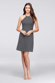 5fcbe75049f Open-Back Lace and Mesh Short Bridesmaid Dress - Grey (Gray)