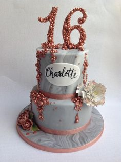Grey and rose gold sixteenth - cake by RockCakes 30th Birthday Cupcakes, Birthday Cake Roses, 13th Birthday Parties, 16th Birthday, Birthday Ideas, 18th Cake, Sixteenth Birthday, Gold Cake, Colour Combo