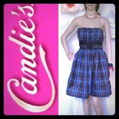 PLAID MIDI DRESS  EUC//empire waist//back zip//tulle slip//smoke -pet free//100%polyester 100%nylon//Size 7. Candie's Dresses Midi