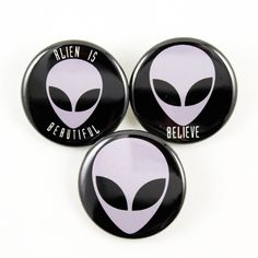 Alien Head   Pinback Buttons   The truth is out there! Classic greys! #x-files #aliens #bigmeanpunk #sci-fi #lonegunmen #grey #space