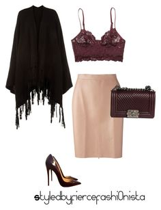 """""""Burgundy"""" by fiercefashi0nista on Polyvore featuring Monki, MSGM, Christian Louboutin, Chanel and Accessorize"""