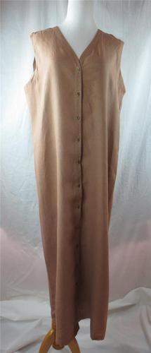 Eileen Fisher Tunic Dress Khaki Putty 100 Linen Womens Career Casual Size 16 XL   eBay $59.95