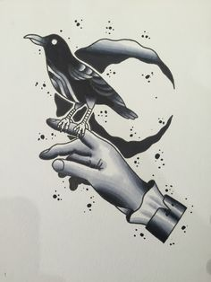 Traditional crow on hand flash done by me