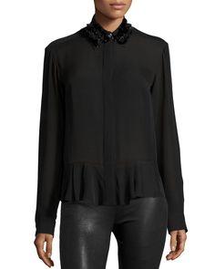 Silk Embroidered Peplum Shirt, Black, Size: 42 - McQ Alexander McQueen