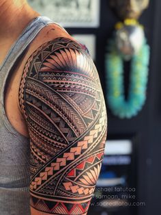 red accents on this beautiful Samoan inspired sleeve by Michael Fatutoa