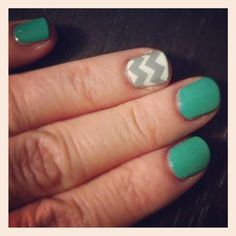 Turquoise with white/gray chevron nails