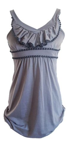 USED GRAY BIB LAYER SLEEVELESS BABY DOLL BLOUSE TANK TOP WIDE STRAPS SIZE S #COMECOMO #TankCami #Casual