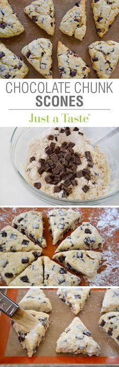 Chocolate Chunk Scones #recipe from justataste.com