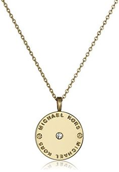 "Michael Kors Gold Tone Logo Pendant Necklace, 18"" + 2"" Extender. Stainless steel necklace featuring round logo-engraved pendant with screwhead accents and petite crystal centerpiece. 18"" rolo chain with lobster-claw clasp and 2"" extender. Imported."