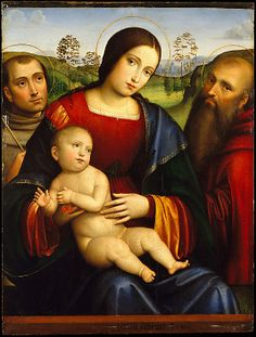 Madonna and Child with Saints Francis and Jerome, Francesco Francia  (Italian, Bologna ca. 1447–1517 Bologna).  LOVE the colors