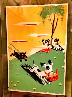 Screen print of animals, mid 1950s.