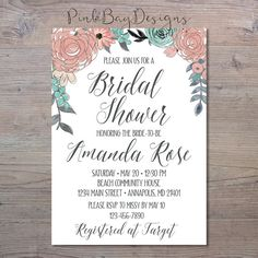 Pink And Blue Floral Bridal Shower Invitation by PinkBayDesigns