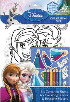 Frozen Colouring Set Includes Pencils Stickers 8 Sheets